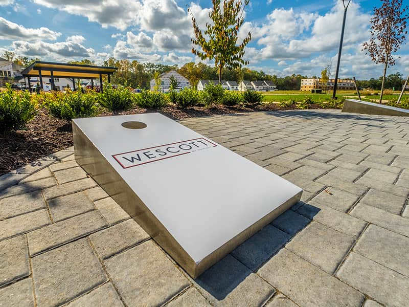 Cornhole Board at HHHunt's Wescott Community